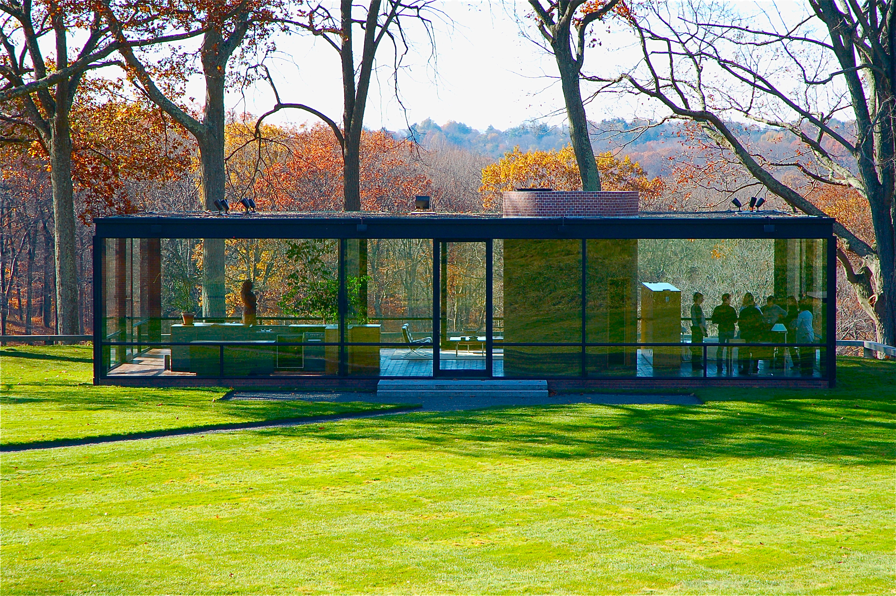 Philip johnson bailar sobre arquitectura for The glass house plan